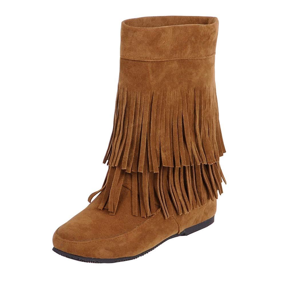 QINGMM Frauen Wildleder Fransen Stiefel 2018 Herbst Flache EU Mode Booties,Braun,39 EU Flache - 728ff3