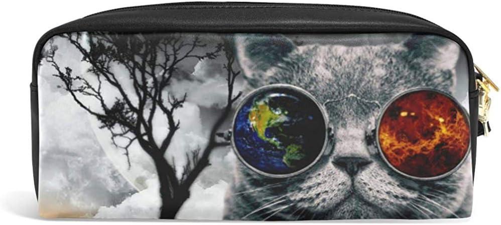 Estuche para lápices Lindo Gato y Gafas Estuche para lápices Galaxy Organizador Bolso de Maquillaje de Cuero de PU: Amazon.es: Hogar