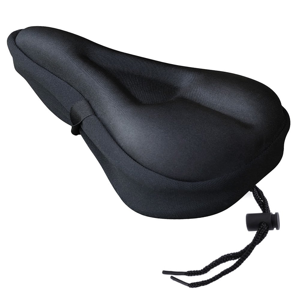 Zacro Gel Bike Seat Cover- BS031 Extra Soft Gel Bicycle Seat - Bike Saddle Cushion with Water&Dust Resistant Cover (Black) with 15 Count Bags