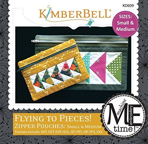 Kimberbell Flying to Pieces! Zipper Pouches: Small & Medium Machine Embroidery Design CD KD609 Quilting Embroidery Designs