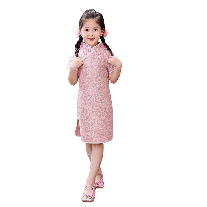 Reveryml Niña Vestidos Vestido de Las Muchachas de la Flor del Homenaje de Seda del Cabrito Hueco Qipao Tradicional niños Cheongsam Vestidos de la Muchacha ...