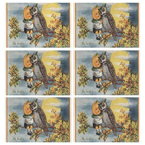 Cocoa trade Heat Resistant Placemats for Kitchen Table Mats Dining Room,Vintage Halloween Image Washable Insulation Non Slip Placemat 12x18 inch(6 pcs)