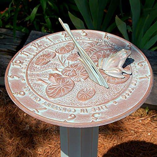 BestNest Whitehall Frog Sundial Roman Pedestal Package, Copper Verdi