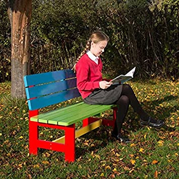 Incredible Painted Wood Garden Bench For Children Aged 5 9 Years Short Links Chair Design For Home Short Linksinfo