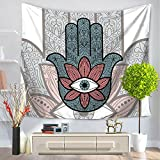 New Arrival Religion Eye Hamsa Palm Style Charm Gradient Color Tapestry Wall Hanging,Wall Art,Beach Throw,51inchx59inch