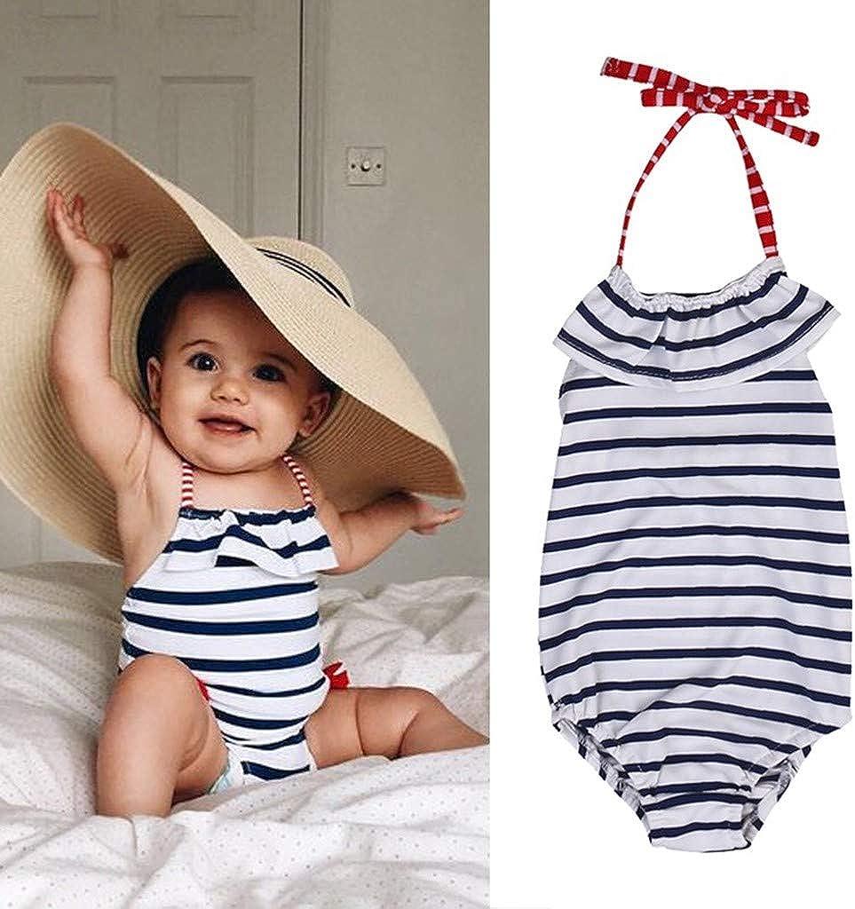 MOGOV Children Kids Girls Summer Bikini Beach Suspender Stripe Swimwear One Piece Swimsuit