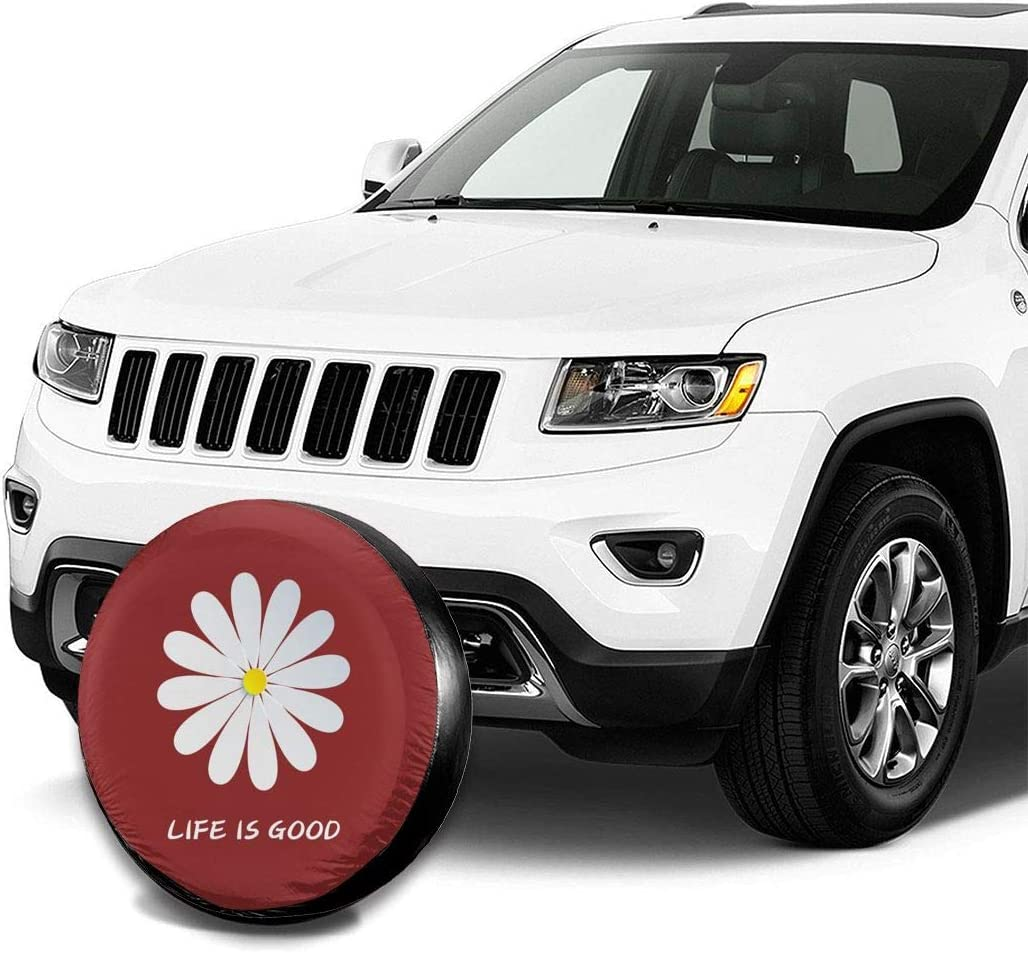 15in UU Spare Tire Cover Tire Cover Life is Good Polyester Universal Dust-Proof Waterproof Wheel Covers for Jeep Trailer Rv SUV Truck and Many Vehicles
