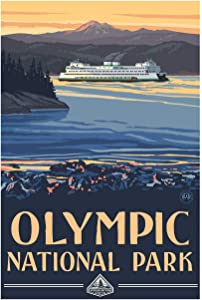 Olympic National Park Ferry Giclee Art Print Poster from Original Travel Artwork by Artist Paul A. Lanquist 12