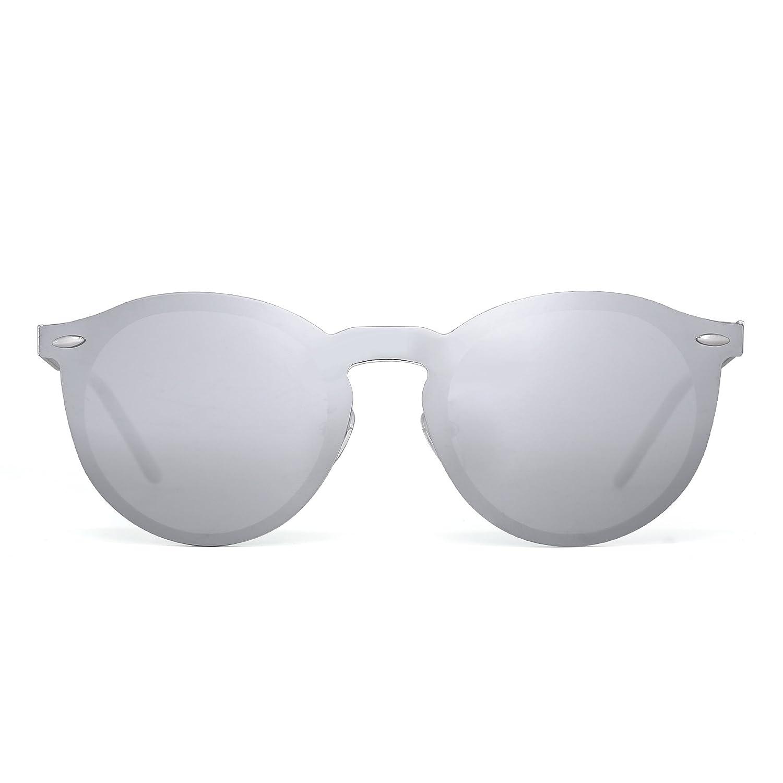 JIM HALO Rotondi Occhiali da Sole Polarizzati Riflettenti Specchio Senza Montatura Un Pezzo Uomo Donna