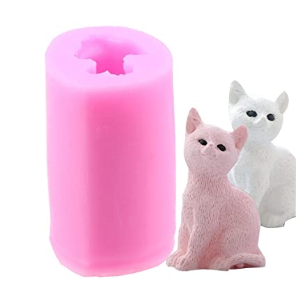 UK 3D Pink Cat Soap Mould Silicone Candle Mold Fondant Chocolate Cake Home Decor