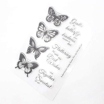 Fafalloagrron Mariposa Transparente Silicona Claro Sello de ...