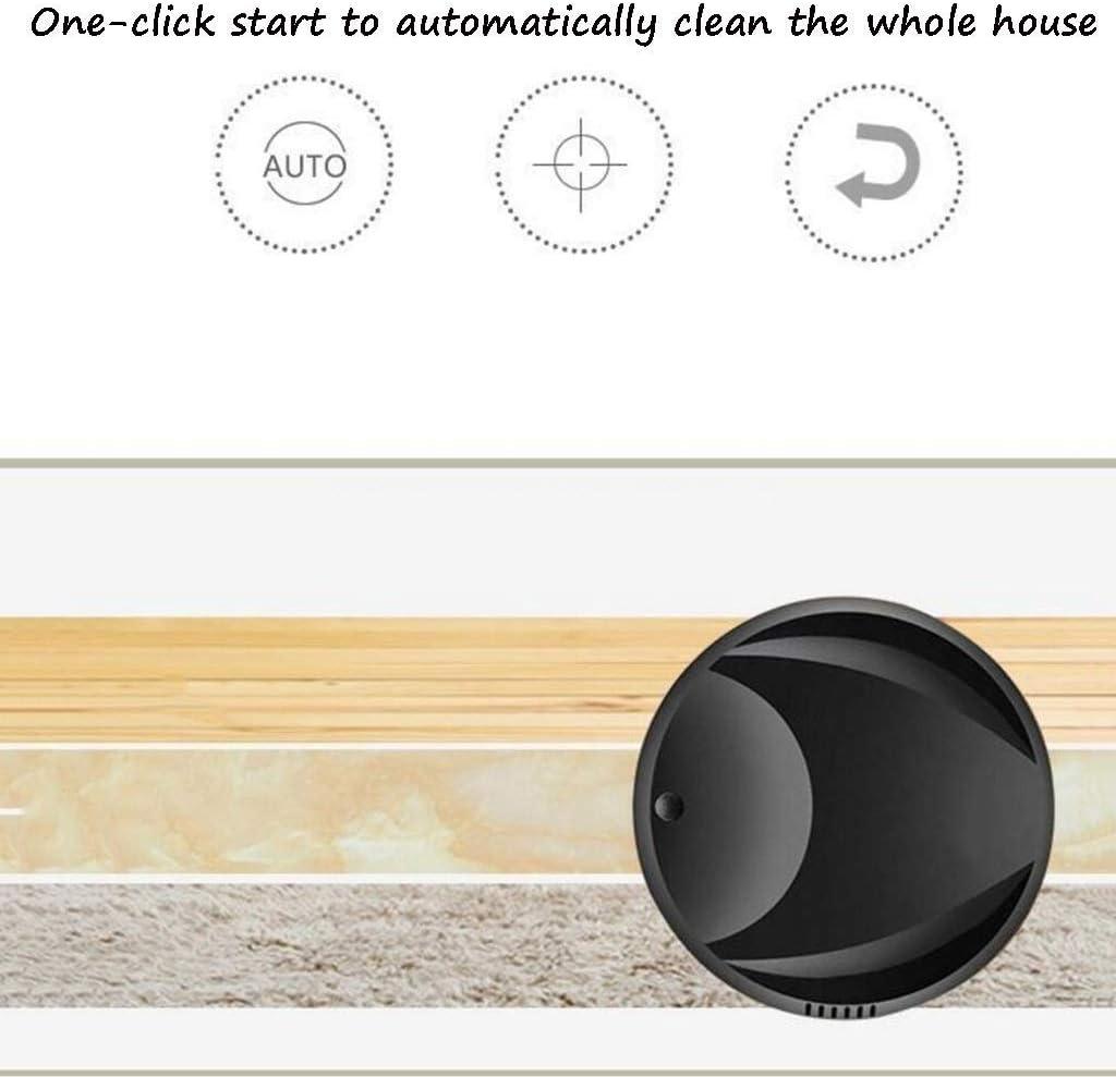 Bdesign Robot Aspirateur, Aspiration Forte, Meilleure Pet Hair, Hard Floor Pile Faible Tapis balayeuses Ménage Cheveux Nettoyage Automatique Puissant (Color : Black) White