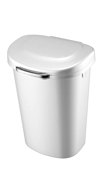 Rubbermaid Touch Top Lid Trash Can for Home, Kitchen, and Bathroom Garbage,  13 Gallon, White