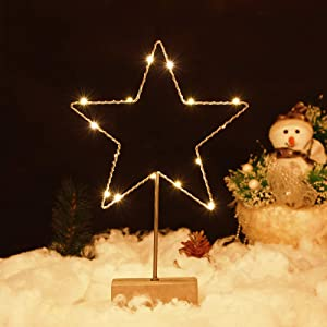 n / a Star Shaped Metal Decor Tabletop LED Light Desktop Portable Home Decoration for Christmas Indoor Wedding Party Xmas Holiday Battery Powered Bedroom Romantic Table Lamp Decor
