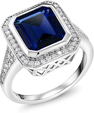 UNIQUE CUSTOM MENS HEAVY STERLING  SILVER  RING WITH LAB-GROWN SAPPHIRE