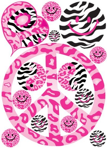 Sixties Theme Pink Peace Sign Wall Decals in Leopard, Cheetah, and Zebra Print Wall Decals / -