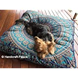 Third Eye Export Indian Mandala Floor Pillow Square Ottoman Pouf Daybed Oversized Cushion Cover Cotton Seating Ottoman Poufs Dog/Pets Bed (Blue 12 MASI Cover)