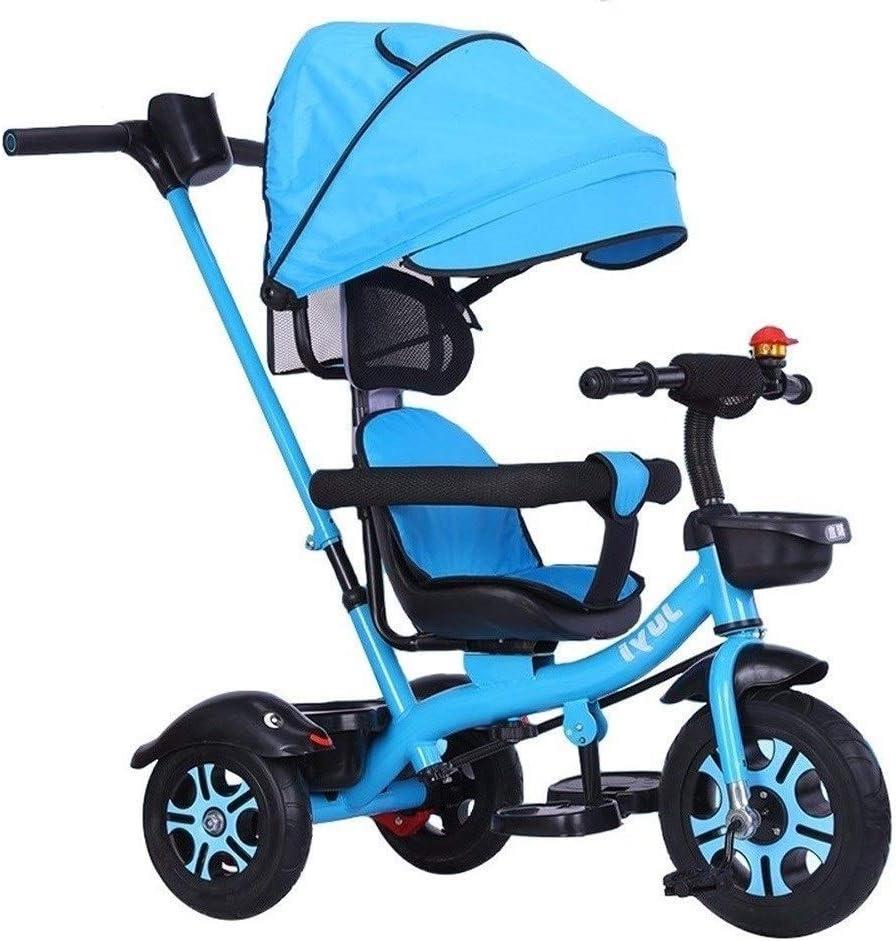 WLD Bicicleta de entrenamiento Trike Niños 'Triciclos Bicicleta de equilibrio Cochecito de bebé Niños' S Montar en triciclo Juguetes Toldo con mango Juguetes de pasajeros salientes Lo mejor para rega