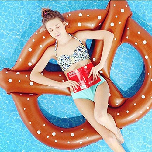 Coohole Summer Swim Ring Giant Inflatable Pretzel Float Toy Water Raft