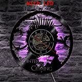 Vinyl Clock Game of Thrones Led Wall Lamp Atmosphere LP Vintage Silhouette Record Handmade Gift Cool Home Decor Decor Art