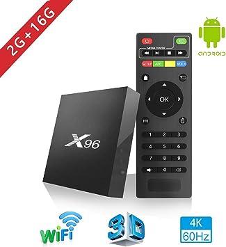 Aoxun Android 6.0 TV Box 2G + 16GB Smart TV Box Quad-Core Inteligente Set-Top Boxes 64 bits y True 4K Jugando H.265, WiFi 2.4Ghz X96 (2G + 16G): Amazon.es: Electrónica