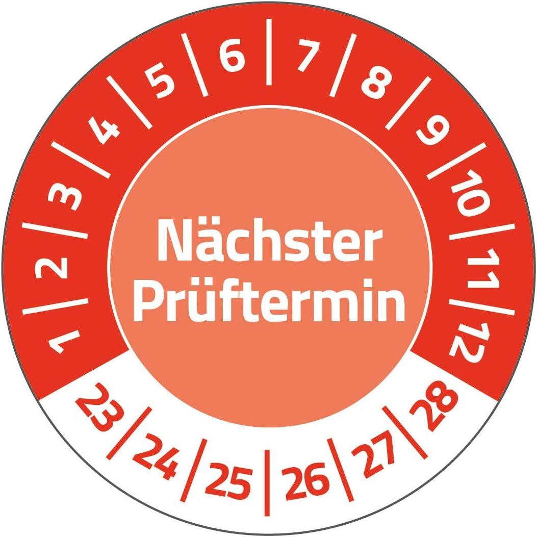 AVERY Zweckform 120 Pr/üfplaketten N/ächster Pr/üftermin 2023-2028 Art rot widerstandsf/ähig, selbstklebend, /Ø 20 mm, Pr/üfaufkleber, beschriftbare Pr/üfsiegel aus Vinyl-Klebefolie 6987-2023