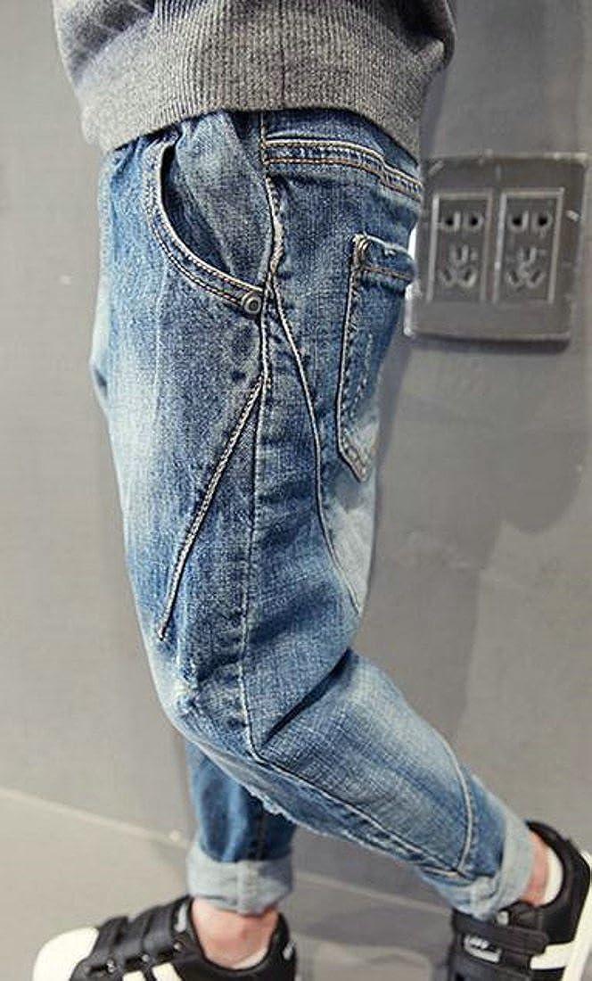 Papijam Boys Fashion Denim Comfort Elastic Waist Harem Pant Light Blue 4T