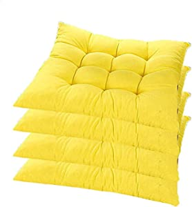 YYRZ Set of 4 Indoor/Outdoor Chair Cushion, Cotton Chair Pads Square, Cushions for Wicker Chair Seat, for Rocking, Dining, Patio, Camping, Kitchen Chairs (40X40cm),Yellow