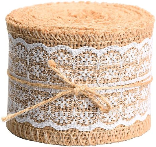 Natural Burlap Craft Ribbon Roll with White Lace 156 Inches
