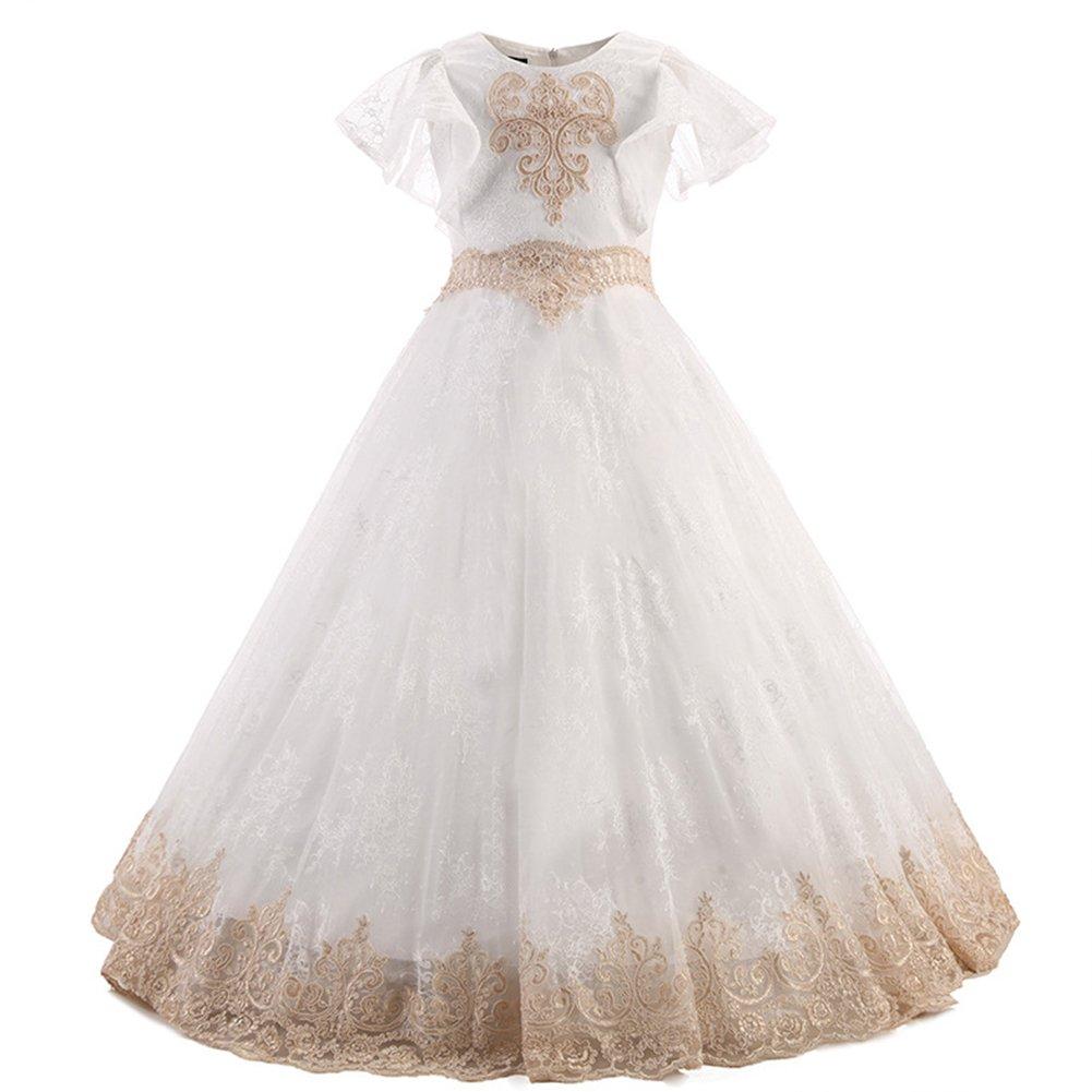 Vestido de niña de flores para la boda Niñas Niños Largo Gala Encaje De Ceremonia Fiesta Elegantes Comunión Paseo Baile Pageant Damas De Honor Coctel ...