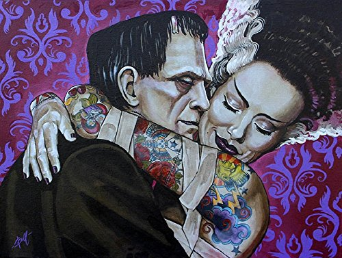 Undying Love by Mike Bell Frankenstein Monster Lovers Tattoo Canvas Art Print (Names Of Monster High Characters)