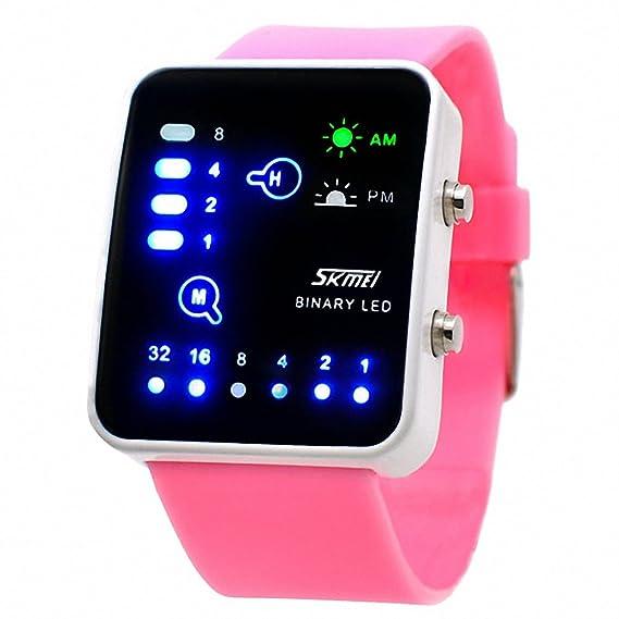 Skmei reloj Digital Unisex niña moda Jelly correa de caucho Multifunción luminoso LED binario rosa + caja: SKMEI: Amazon.es: Relojes
