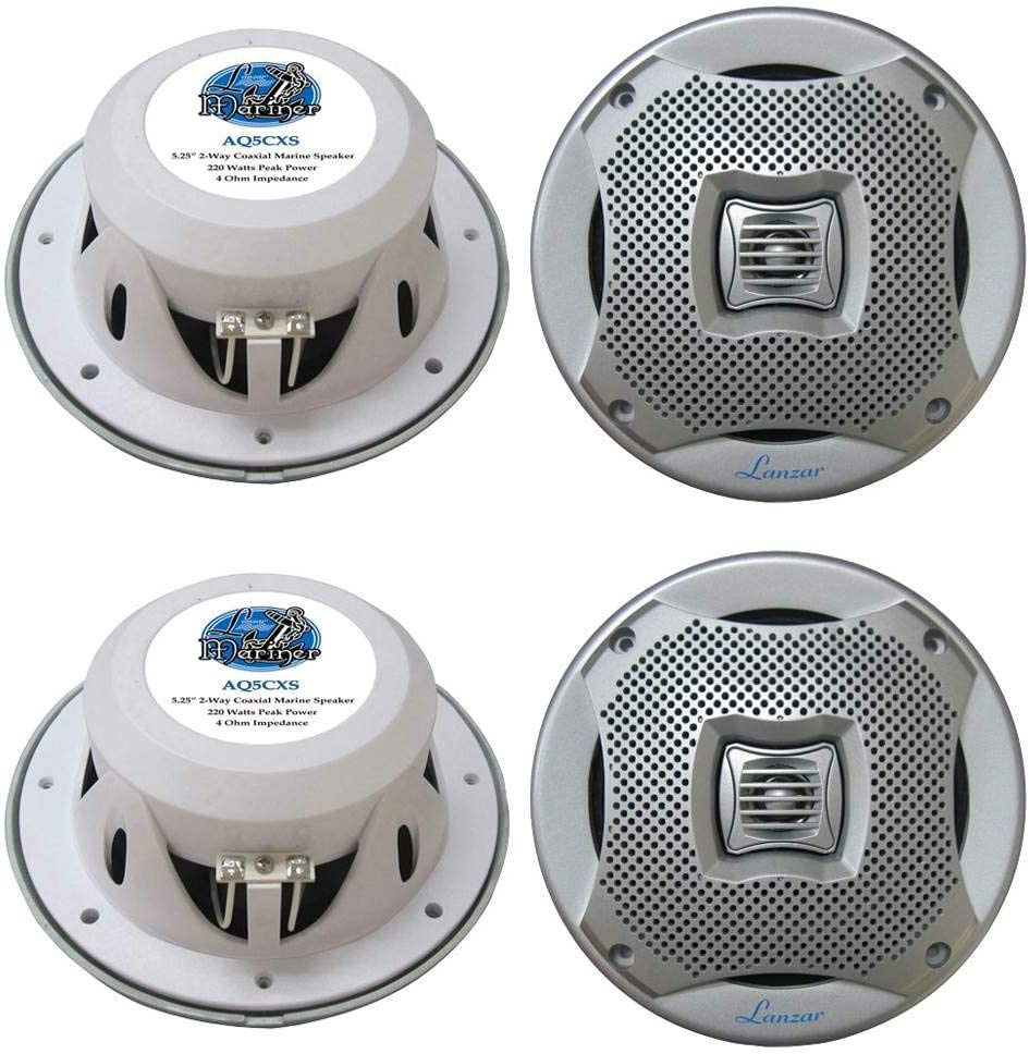 LANZAR 4 New AQ5CXS 5.25 800W 2-Way Marine//Boat Audio Stereo Speakers Silver
