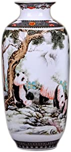 MINLIN Jingdezhen Ceramic Vase Vintage Chinese Style Animal Vase Fine Smooth Surface Home Decoration Furnishing Articles (Panda)
