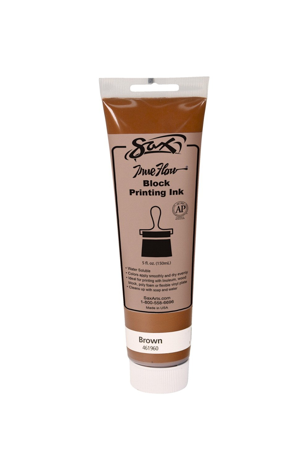 Sax True Flow Water Soluble Block Printing Ink - 5 Ounce Tube - Brown by Sax (Image #1)