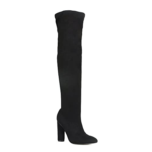 2cecab49192 best Black Over The Knee Boots Chunky Heel image collection