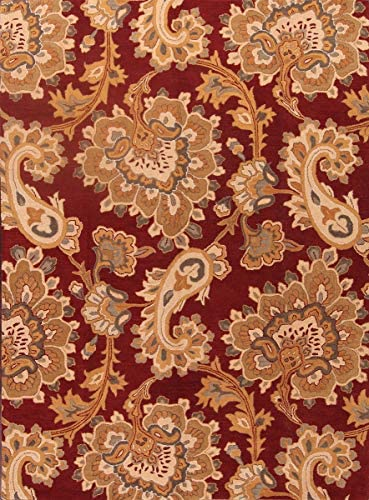 Traditional Floral Paisley Oushak Oriental Hand-Tufted 8'X11' Red Wool Area Rug 11' 0'' X 8' 0''