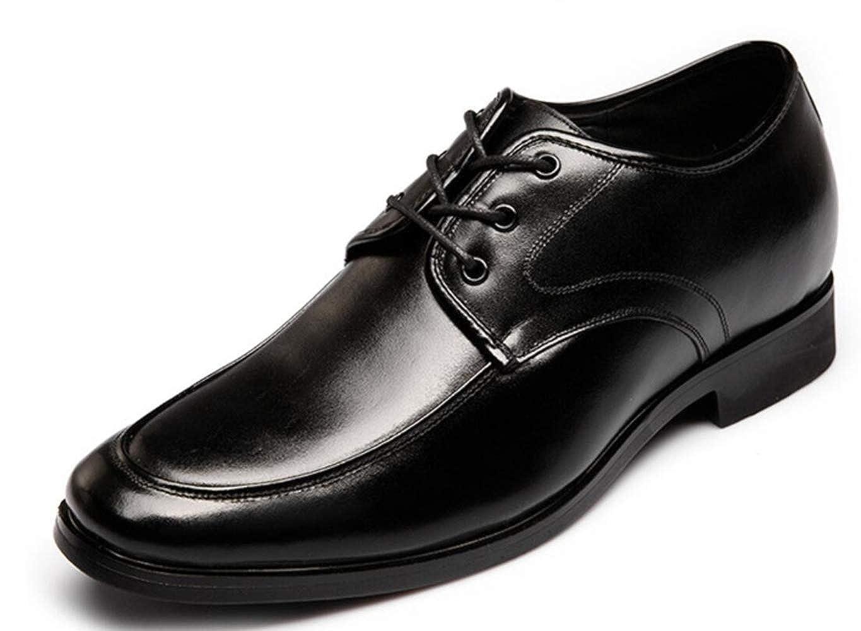 Shiney Herren Freizeit Business Lace-up Erhöhung Schuhe Echtes Leder Lace-up Business Interner Anstieg 6cm Lederschuhe schwarz 78d2f0