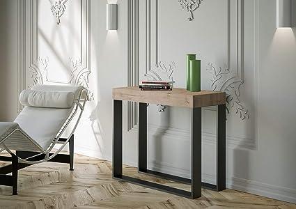 itamoby console extensible en bois et fer h 77 x 40 x 90 300 cm electra chene classique