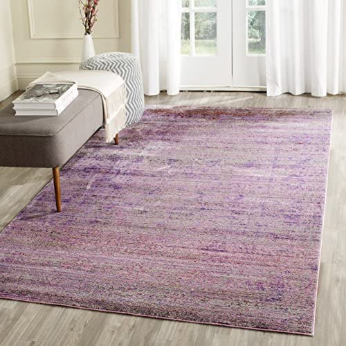 Safavieh Valencia Collection VAL203N Lavender and Multi Distressed Watercolor Silky Polyester Area Rug 8 x 10