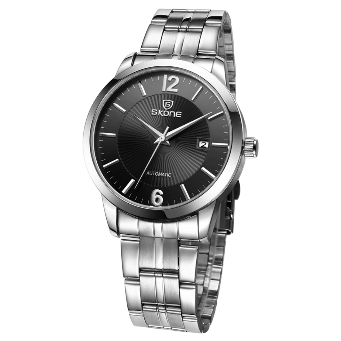 Dig dog bone 3ATM Waterproof Round Dial Nailed Scale Calendar Display Automatic Mechanical Men Watch with Alloy Band (Color : Silver)