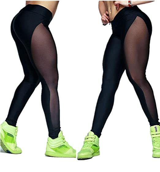 9bfc273df8 Amazon.com: Sunbona Women Sexy Transparent MeshYoga Pants Outdoor Gym  Fitness Elastic Joggers Leggings Tights (L): Clothing