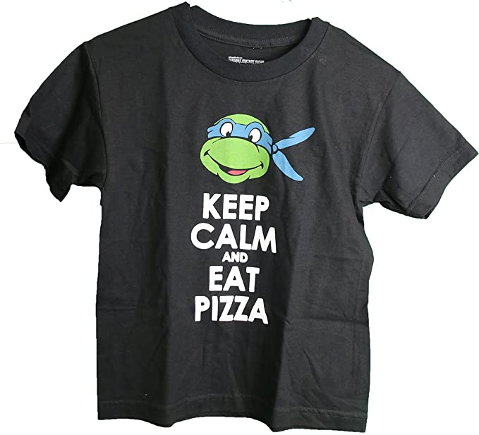 bf7e8d011 Teenage Mutant Ninja Turtles Leonardo Keep Calm Eat Pizza Youth Boy's T- Shirt (X