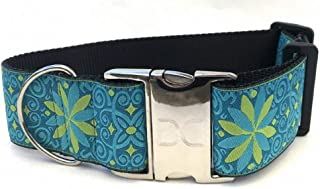 "product image for Diva-Dog 'Pinwheel Caribbean Blue' 2"" Extra Wide Custom Engraved Dog Collar"