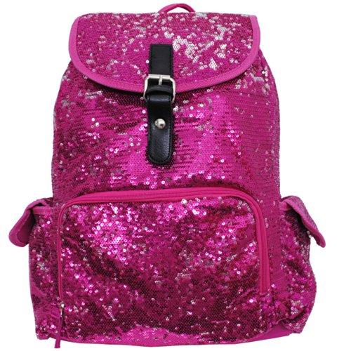 Glittery Sequin Drawstring Cheer Yoga Dance Girly School Backpack Bookbag (Hotpink) - Girly Girl Glitter