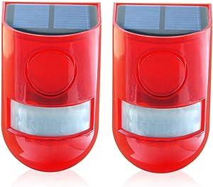 Solar Security Light Alarm,2 Pack IP65 Waterproof PIR LED Motion Sensor Flashing Light Lamp,Built in Battery,Energy Saving Warning 110dB Loud Siren Solar Light for Home Flashing Outdoor