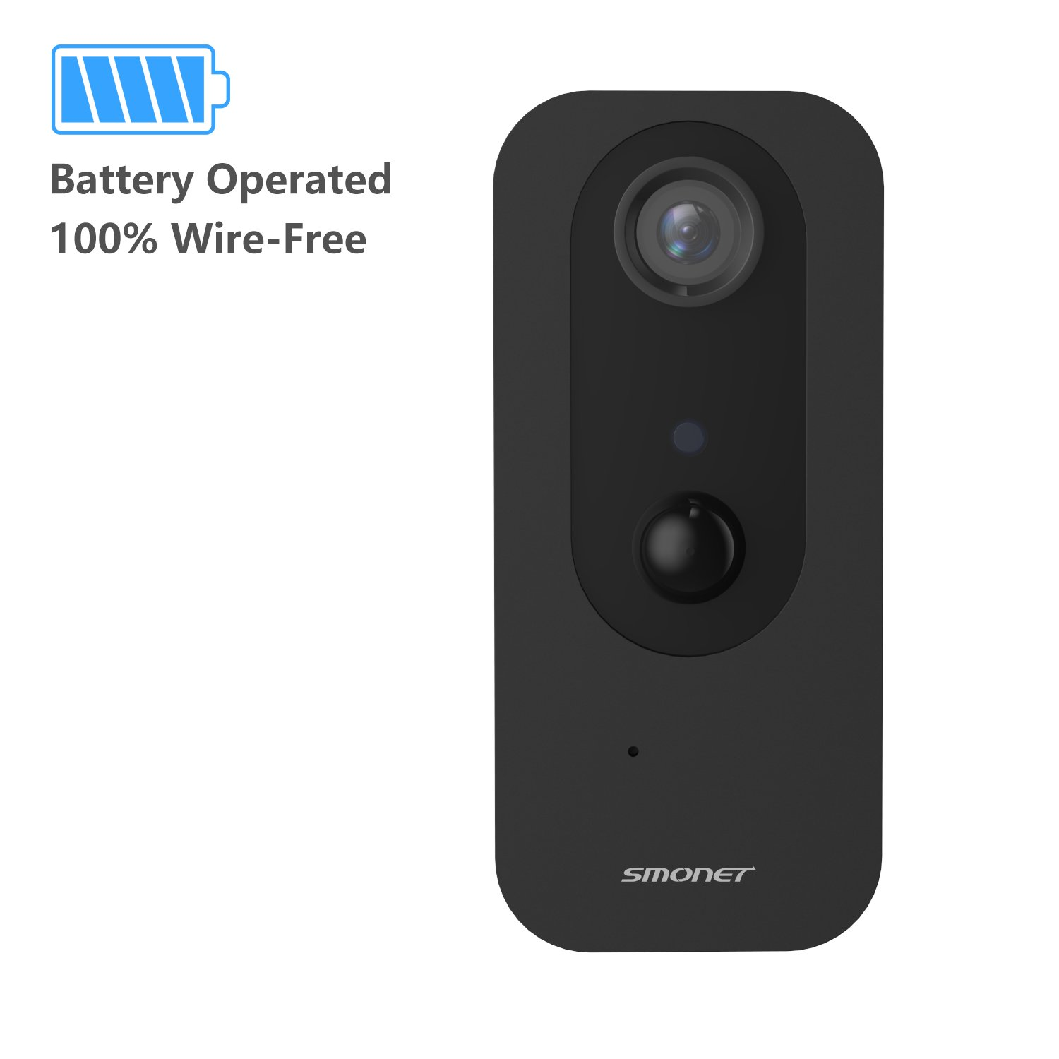 Security Camera Wireless, SMONET Battery Operated 100% Wire-Free IP Camera with PIR Alarm, IR Night Vision, TWO-WAY Audio, HD Indoor Surveillance Camera for Baby Pet Monitor