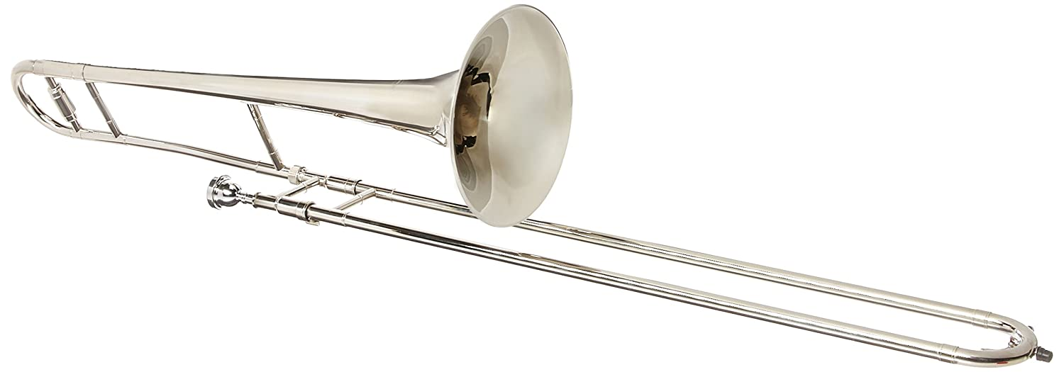 Merano WD427SV-MT B Flat Tenor Slide Trombone with Zippered Carrying Case with Metro Tuner and Black Music Stand, Silver
