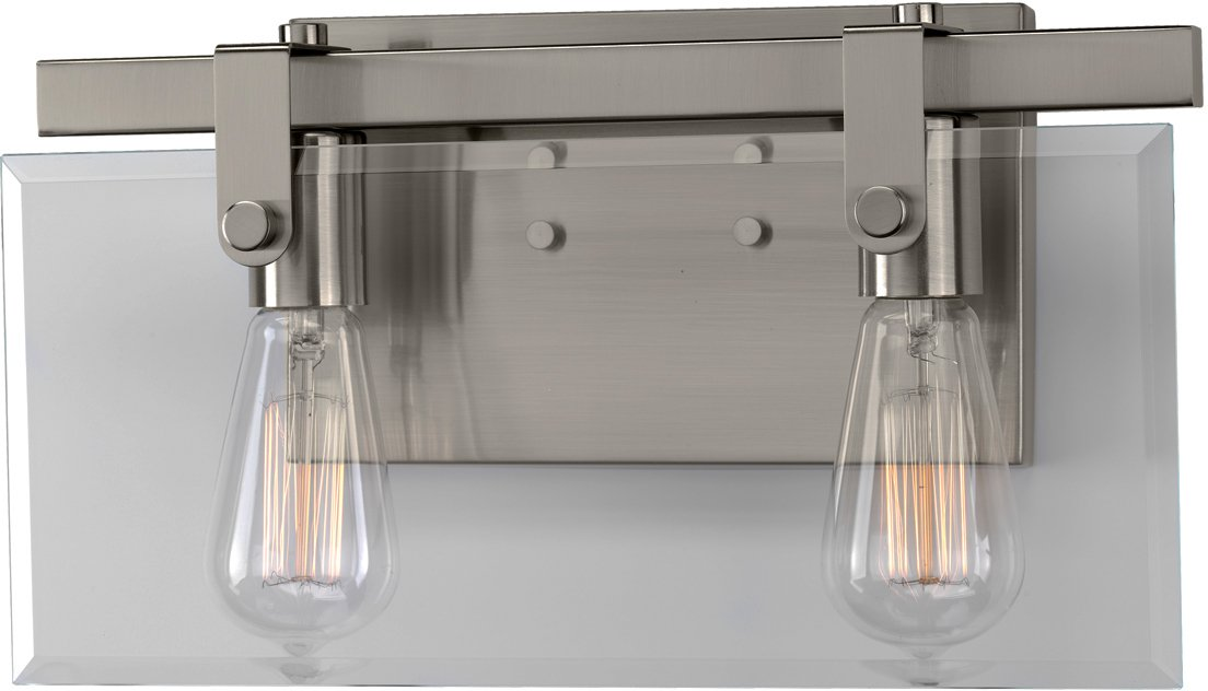 Luxury Modern Farmhouse Bathroom Vanity Light, Medium Size: 8.38'' H x 14.875'' W, with Industrial Chic Style Elements, Brushed Nickel Finish, UHP2453 from The Bristol Collection by Urban Ambiance