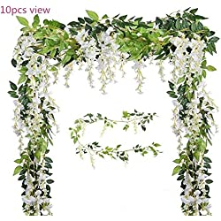 Malka's Wisteria Garland 4 Pack 6.6ft/Piece White Artificial Hanging Silk Home Garden Outdoor Party Wedding Arch Festive Decor